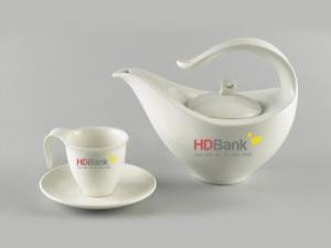 Bộ Trà Minh Long 0.45 L Anh Vũ Trắng Giá in Logo HDBank