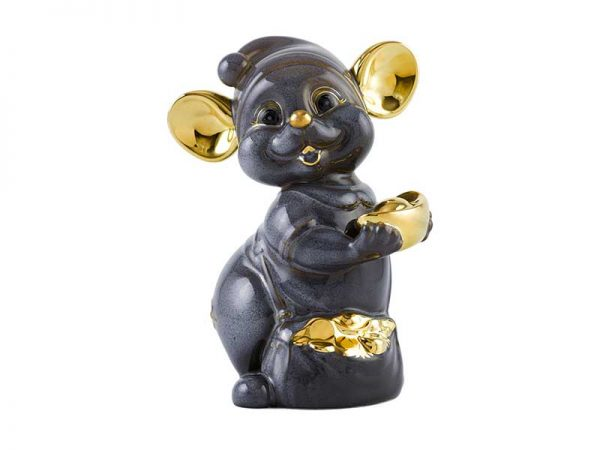 tượng sứ, tượng sứ minh long, Chuột Quý 10 cm - Màu xám - Trang trí vàng 24K