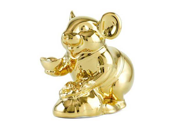 tượng sứ, tượng sứ minh long, Chuột Phú 13 cm – Trang trí dát vàng 24K