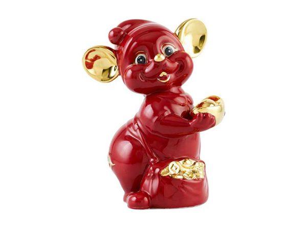 tượng sứ, tượng sứ minh long, Chuột Quý 10 cm – Màu Đỏ - Trang trí vàng 24K