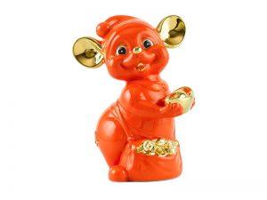 tượng sứ, tượng sứ minh long, Chuột Quý 10 cm – Màu Cam - Trang trí vàng 24K