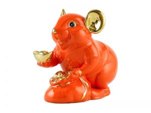 tượng sứ, tượng sứ minh long, Chuột Phú 8 cm – Màu Cam - Trang trí vàng 24K