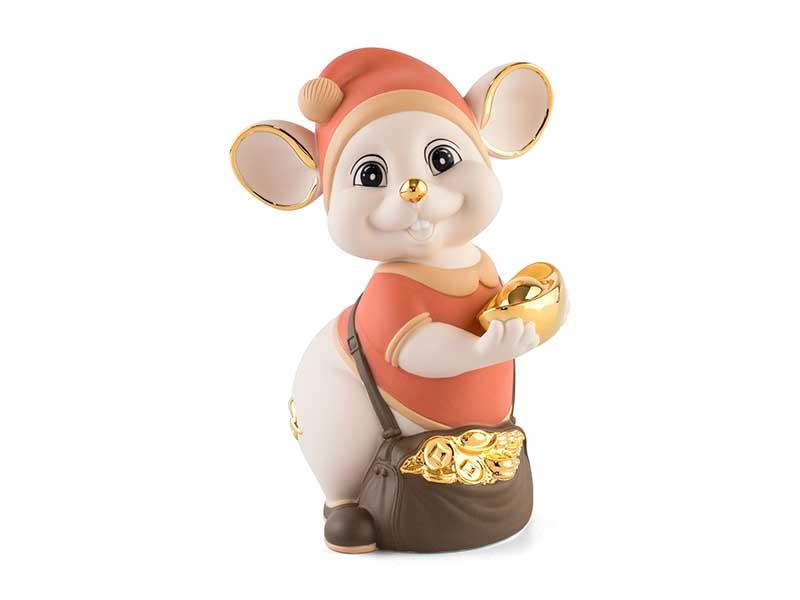 Chuột Quý 16 cm (màu Matt) – Cam – Họa tiết trang trí vàng