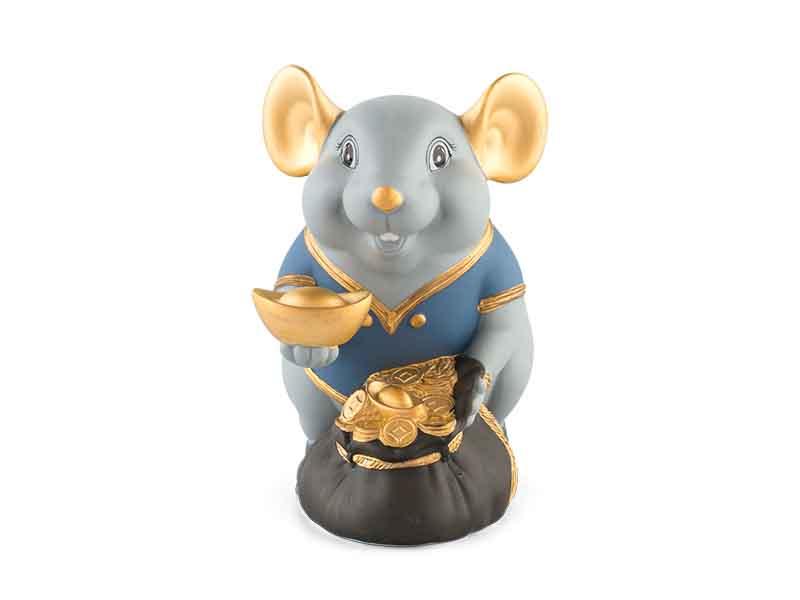Chuột Phú 13 cm (màu Matt) – Xanh dương – Họa tiết trang trí
