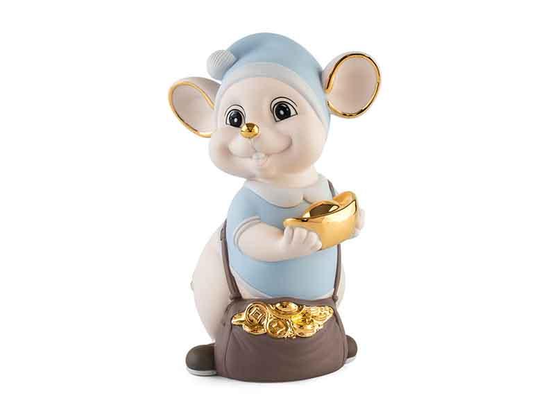 Chuột Quý 16 cm (màu Matt) – Xanh dương – Họa tiết trang trí