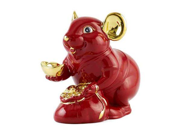 tượng sứ, tượng sứ minh long, Chuột Phú 8 cm – Màu Đỏ - Trang trí vàng 24K