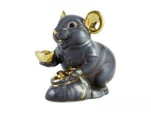 tượng sứ, tượng sứ minh long, Chuột Phú 8 cm - Màu xám - Trang trí vàng 24K
