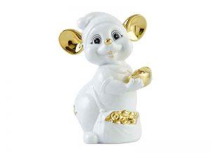 tượng sứ, tượng sứ minh long, Chuột Quý 10cm - Màu Trắng - Trang trí vàng 24K