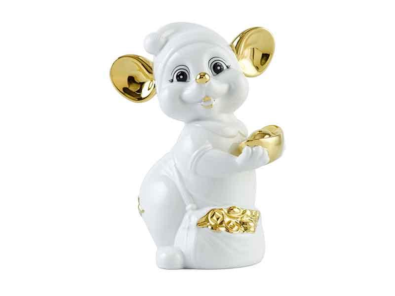 Chuột Quý 16 cm – Màu Trắng – Trang trí vàng 24K