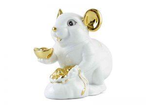tượng sứ, tượng sứ minh long, Chuột Phú 8 cm – Màu Trắng - Trang trí vàng 24K