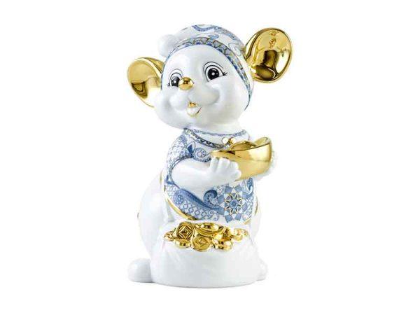 tượng sứ, tượng sứ minh long, Chuột Quý 24 cm – Sen Cobalt - Trang trí vàng 24K