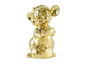 tượng sứ, tượng sứ minh long, Chuột Quý 16 cm - Trang trí dát vàng 24K